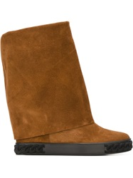 Casadei Fold Over Mid Calf Boots Brown