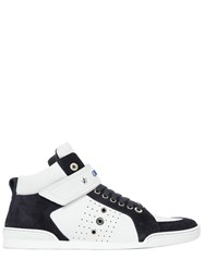 Jimmy Choo High Top Leather And Suede Sneakers