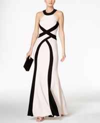 Xscape Evenings Colorblocked Open Back Halter Gown Blush Black