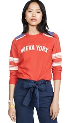 Mother The 1 2 And 1 2 Koozie Sweatshirt Nueva York Red White Blue