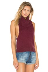 One Teaspoon Parisienne Sleeveless Sweater Burgundy