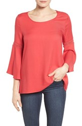 Pleione Women's Lace Inset Bell Sleeve Blouse Red Saucy