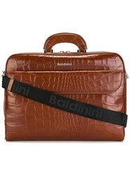 Baldinini Crocodile Skin Effect Briefcase Brown