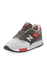 New Balance Men's 998 Age Of Exploration Colorblock Sneaker Gray Red Grey Red