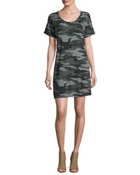 Current Elliott The Slouchy Scoop Neck Dress Black Camouflage Black Pattern
