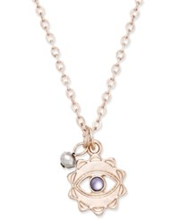 Macy's Silver Tone Evil Eye And Charm Pendant Necklace Rose