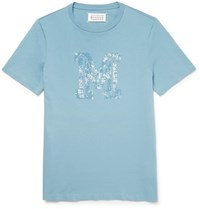 Maison Martin Margiela Slim Fit Printed Cotton Jersey T Shirt Light Blue