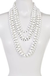 Madison Parker Multi Strand Simulated Pearl Beaded Necklace White