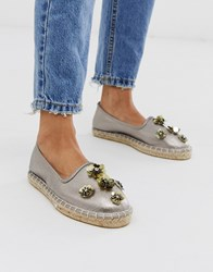 South Beach Sequin Espadrille In Pewter Silver