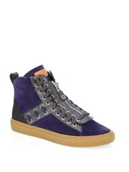 Bally Helvio Studded Leather High Top Sneakers Ink