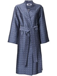 H Beauty And Youth Jacquard Single Breasted Coat Blue