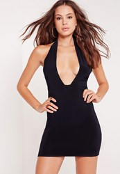 Missguided Slinky Cross Neck Bodycon Mini Dress Navy Blue