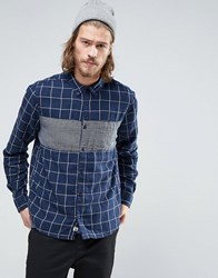 Element Cooper Large Check Shirt Buttondown Gingham Chest In Blue Midnight