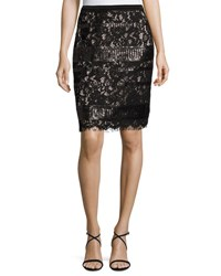 Elie Tahari Violet Sequined Lace Pencil Skirt Black