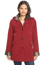 Petite Women's Gallery Bibbed Silk Look Raincoat