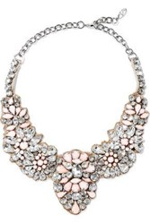Valentino Garavani Woman Silver Tone Crystal And Stone Necklace Baby Pink