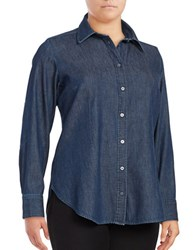 Rachel Rachel Roy Plus Button Down Denim Shirt Dark Wash