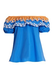 Peter Pilotto Off The Shoulder Cotton Poplin Top Blue
