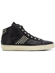 Leather Crown M Iconic Hi Top Sneakers Black