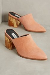 Anthropologie Eugenia Kim Wood Flare Heeled Mules Pink