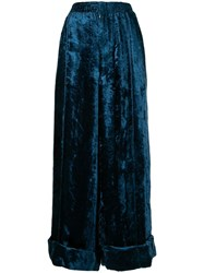 Toga Crushed Velvet Trousers Blue