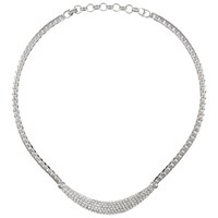 Eclectica Vintage 1960S Christian Dior Rhodium Plated Crystal Pave Necklace Silver
