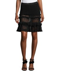 Jonathan Simkhai Ruffle Crochet Tiered Mini Skirt Black