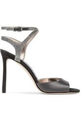 Jimmy Choo Helen Glitter Trimmed Satin And Suede Sandals Anthracite
