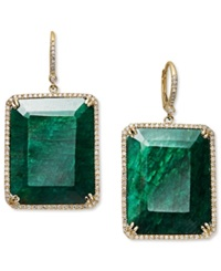 Macy's 14K Gold Earrings Dyed Green Corundum Sapphire 61 Ct. T.W. And And Diamond 3 4 Ct. T.W. Rectangle Drop Earrings