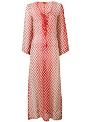 Missoni Lace Up V Neck Zig Zag Dress Red