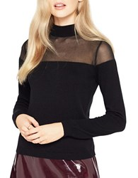 Miss Selfridge Semi Sheer Long Sleeve Sweater Black
