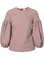 Rosie Assoulin Puff Sleeve Checked Blouse Red