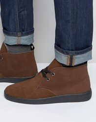 Bellfield Borg Lined Chukka Boot In Brown Suede Brown