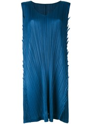 Issey Miyake Pleats Please By Pleated Shift Dress Women Polyester 4 Blue