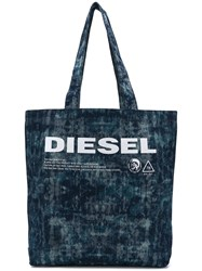 Diesel Printed Denim Tote Blue