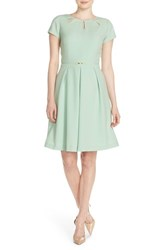 Women's Ellen Tracy Cutout Neck Fit And Flare Dress Mint