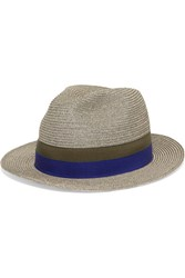 Eres Leone Grosgrain Trimmed Woven Paper Panama Hat Gray Green