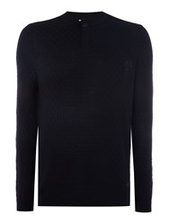 Armani Collezioni Button Neck Wool Jumper Navy