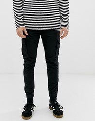 Solid Slim Fit Cuffed Cargo Pant Black