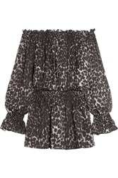 Norma Kamali Off The Shoulder Leopard Print Chiffon Mini Dress Leopard Print