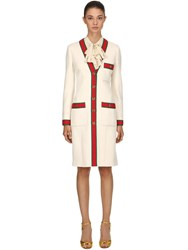 Gucci Wool V Neck Coat White