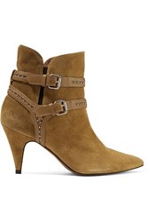 Iro Salix Studded Leather Trimmed Suede Ankle Boots Sage Green