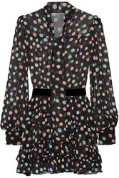 Marc Jacobs Belted Polka Dot Chiffon Mini Dress Black