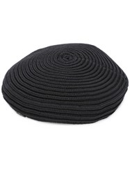 Maison Michel Ribbed Knit Flat Cap Black