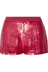 Just Cavalli Lace Trimmed Sequined Chiffon Shorts Red