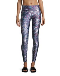 Terez Night Sparkle Tall Band Performance Leggings Multicolor Multi Pattern