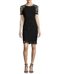 Elie Tahari Yadira Crochet Trim Sheath Dress Black