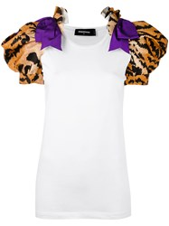 Dsquared2 Tiger Print T Shirt Women Cotton Polyester S White