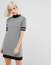 Fred Perry High Neck Knitted Dress With Houndstooth Print Black