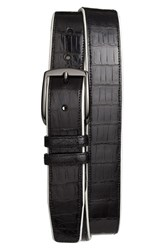 Men's Mezlan 'Saratoga' Genuine Crocodile Leather Belt Black